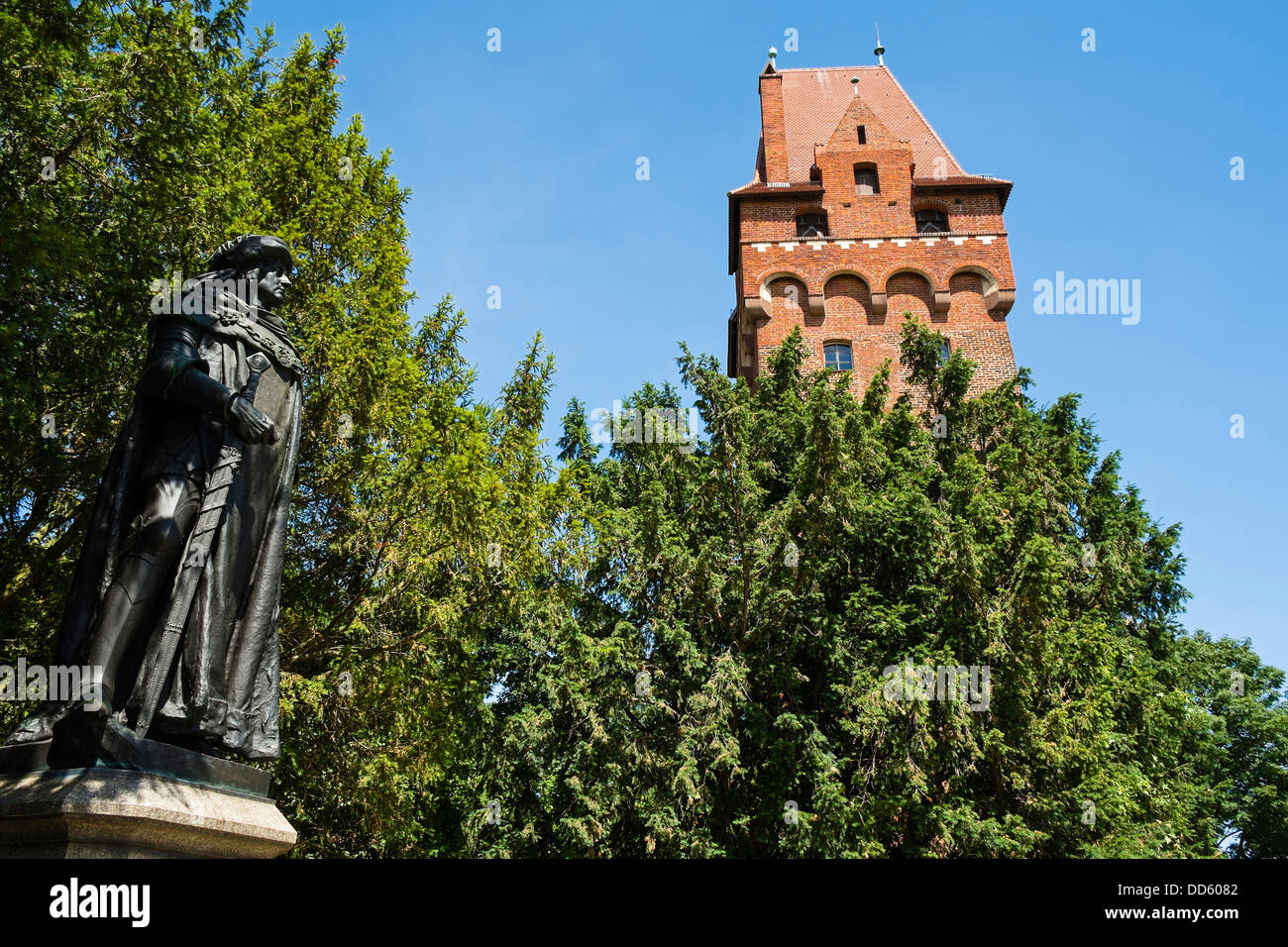 Statue Kurfürst Friedrich I. -  Tangermünde Castle, Saxony-Anhalt, Germany Stock Photo