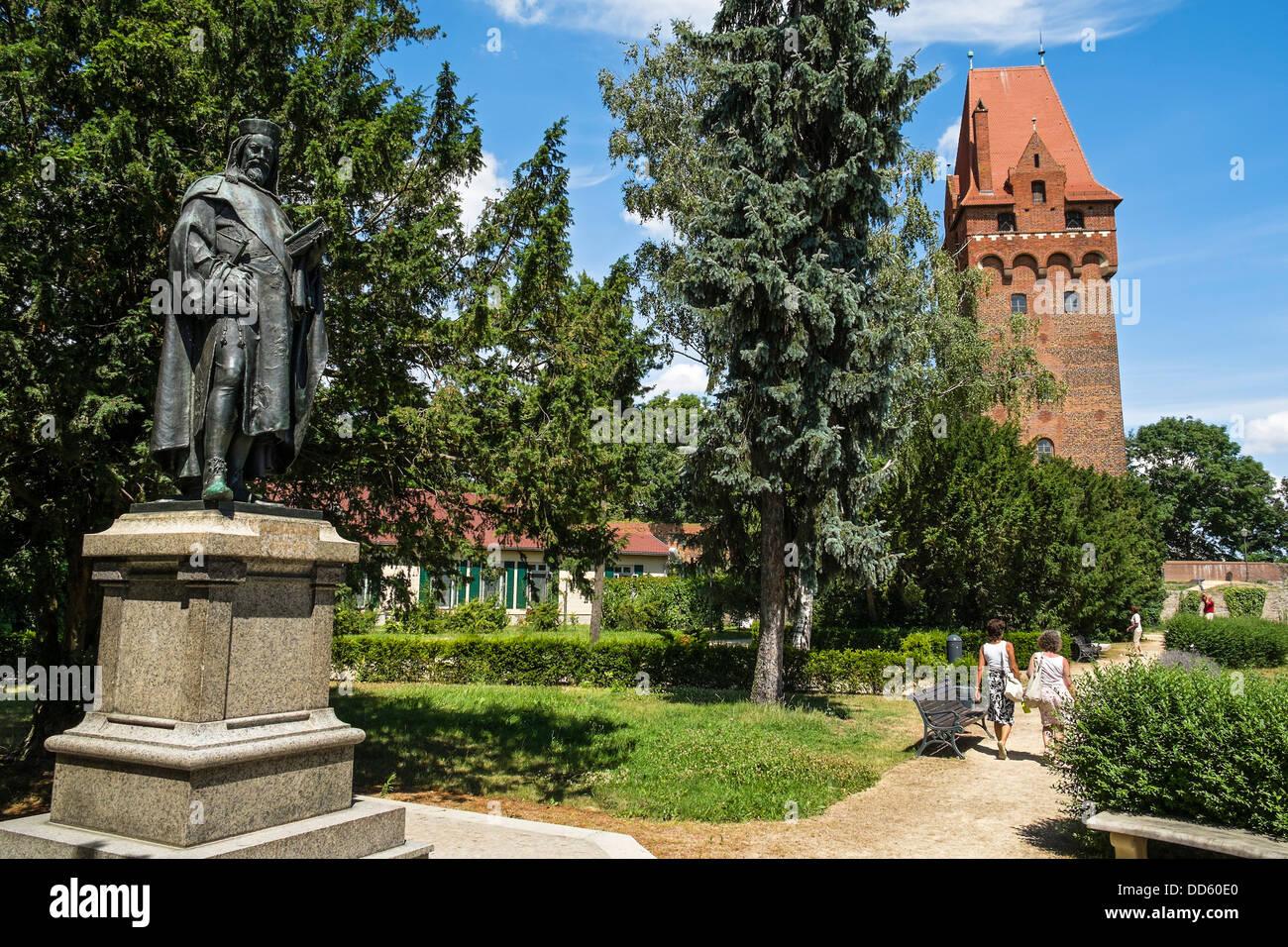 Statue Kaiser Karl IV. - Tangermünde Castle, Saxony-Anhalt, Germany Stock Photo