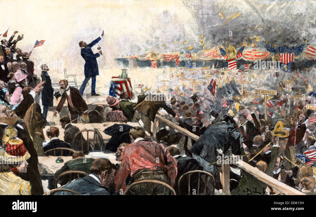 Crowds cheering a speaker at the Republican Convention which nominated Theodore Roosevelt, Chicago, 1900. Hand-colored - Stock Image