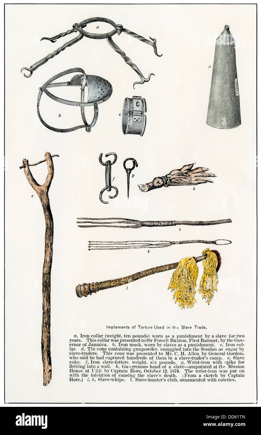 Implements of torture used in the African slave trade. Hand-colored woodcut - Stock Image