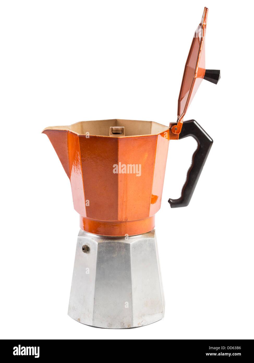 Orange moka pot coffee maker isolated on white background - Stock Image