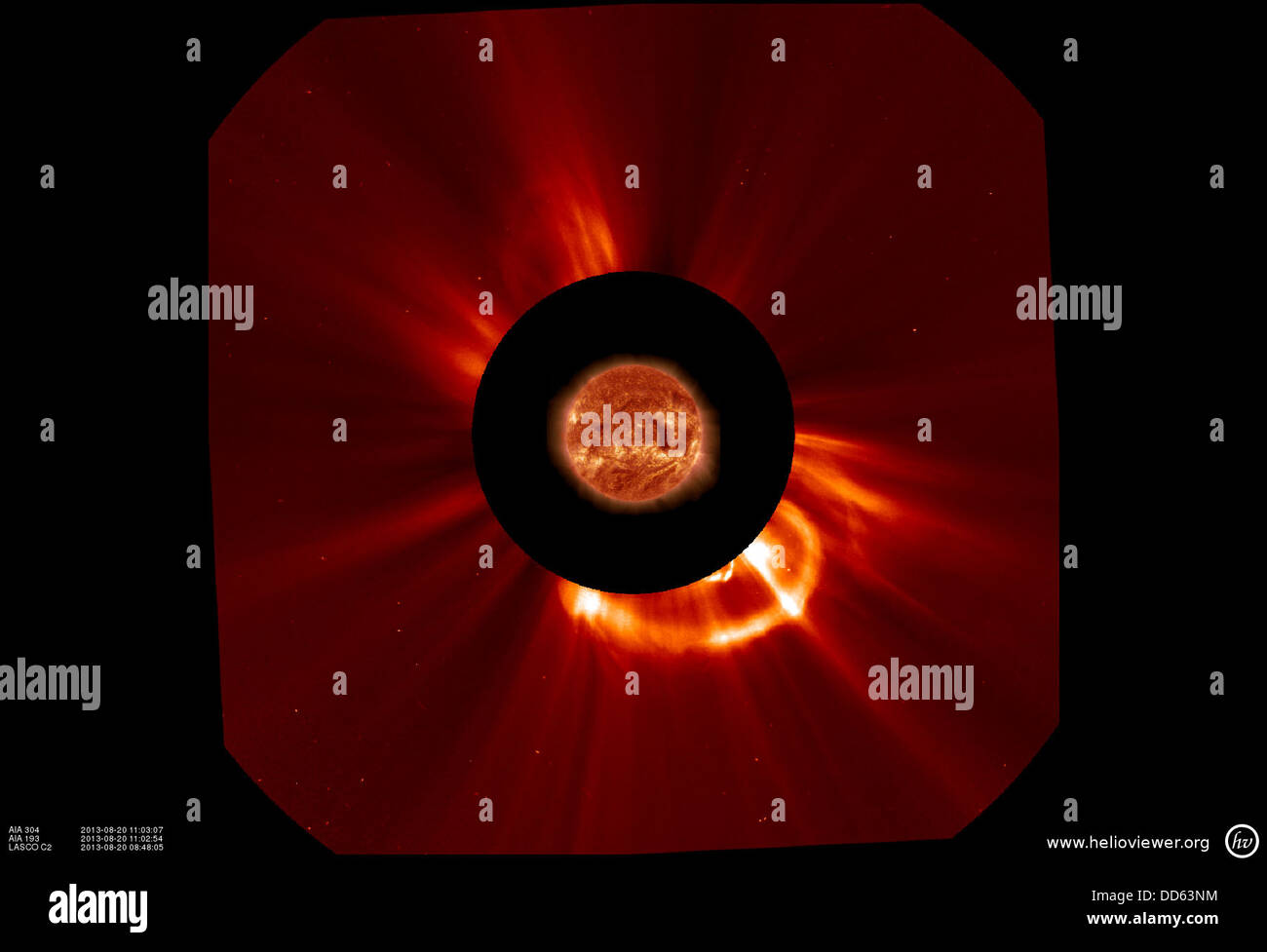 NASA Spacecraft Capture an Earth Directed Coronal Mass Ejection - Stock Image