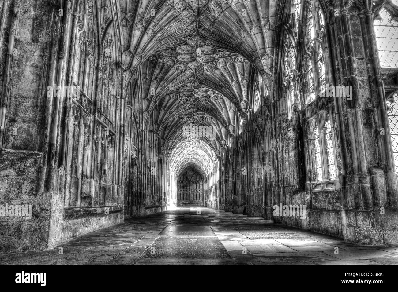 Cloisters at Gloucester Cathedral Black & White - Stock Image