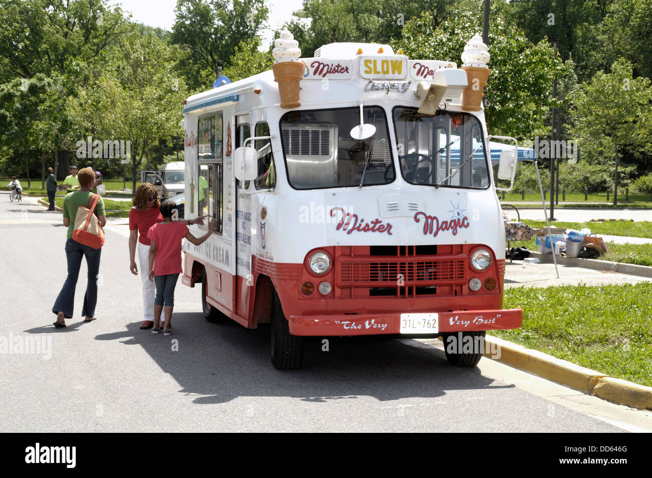 A Mister Magic ice cream truck selling ice cream in Landover, Maryland - Stock Image