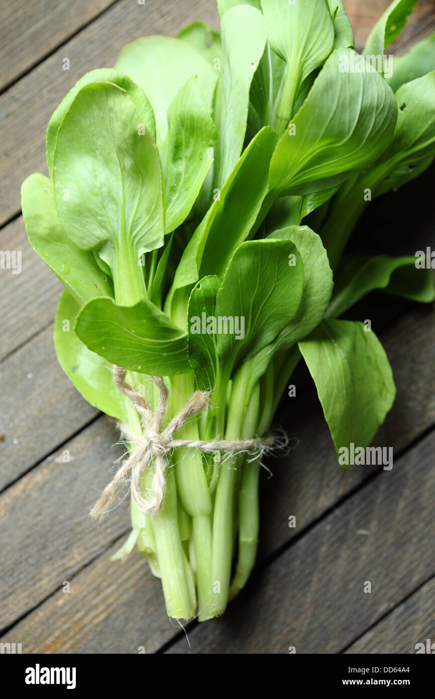 fresh leaves bok choy for salad, food close up - Stock Image