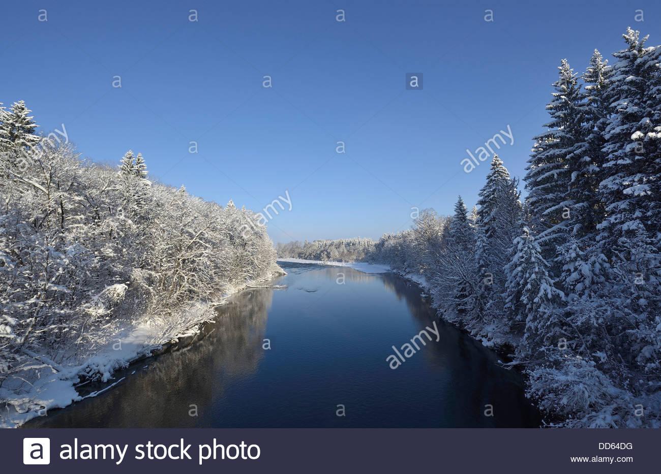 Germany, Bavaria,View of Isar River Stock Photo