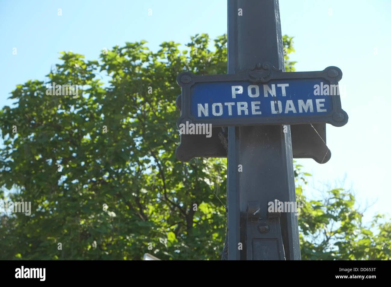 Pont Notre Dame (Notre Dame Bridge sign). - Stock Image