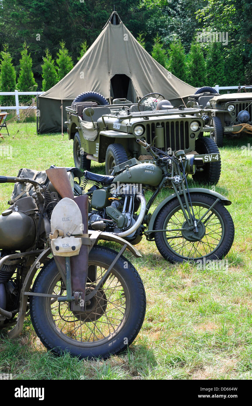 War and Peace Revival, July 2013. Folkestone Racecourse, Kent, England, UK. Military motorcycles, jeep and tent - Stock Image