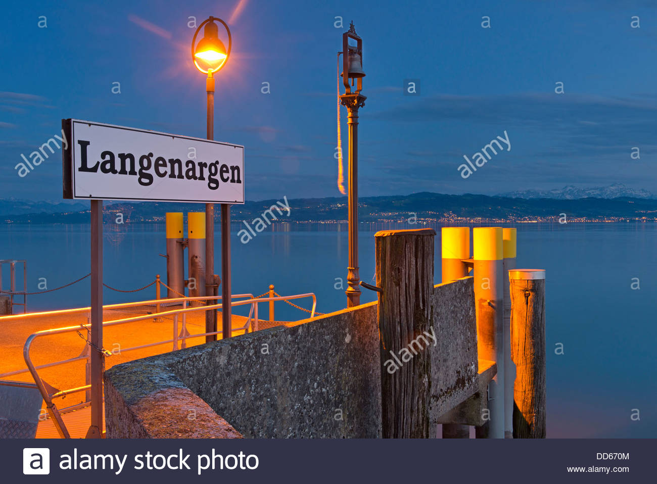 Germany, Sign board at quay - Stock Image