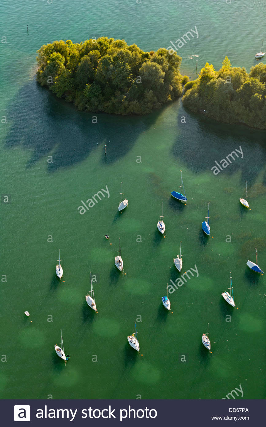 Germany, View of Anchoring sailing boats - Stock Image
