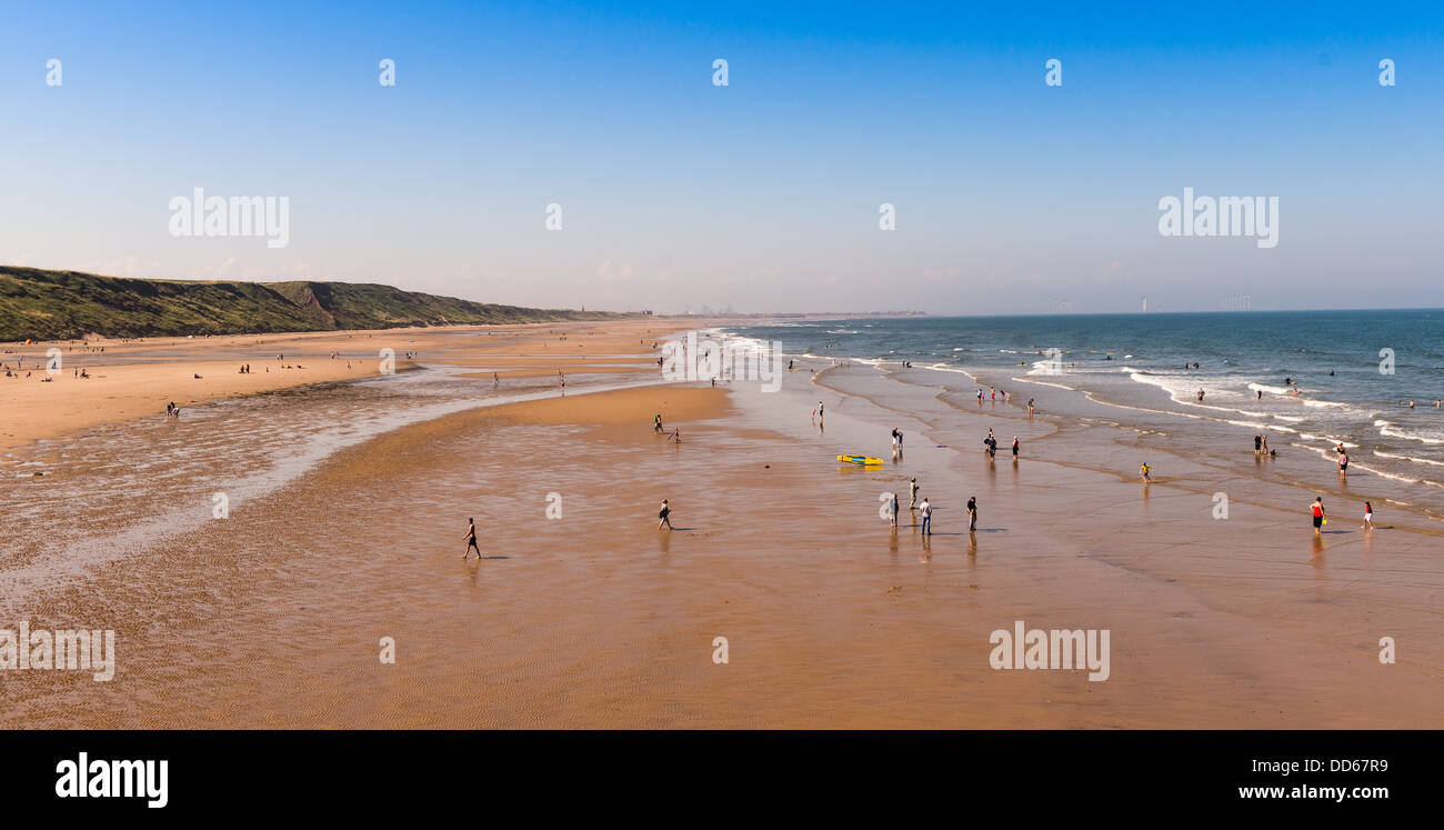 People on the beach at Saltburn by the Sea, North East Coast of UK - Stock Image