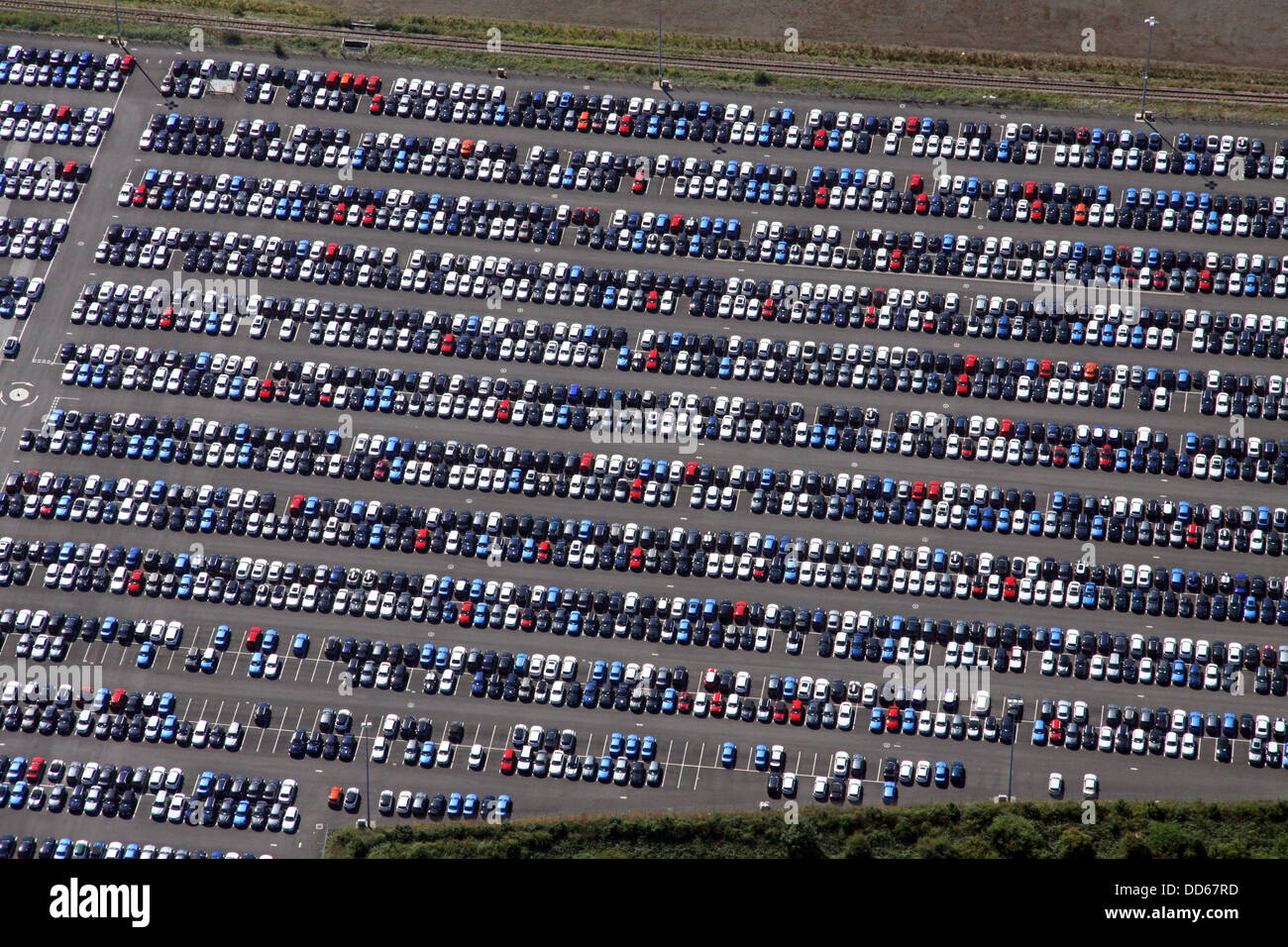 aerial view of new cars parked on the dockside at the port of Immingham - Stock Image
