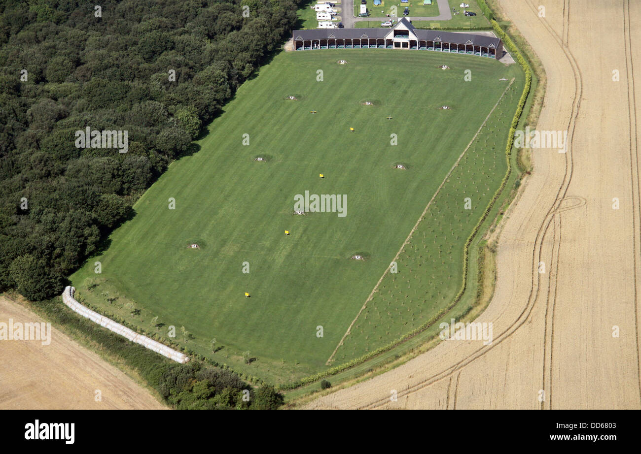 aerial view of a golf driving range near Strubby in Lincolnshire - Stock Image
