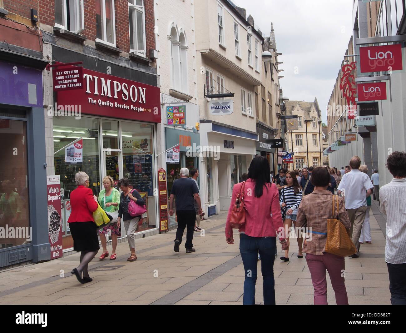 pedestrian shopping street, Cambridge England - Stock Image