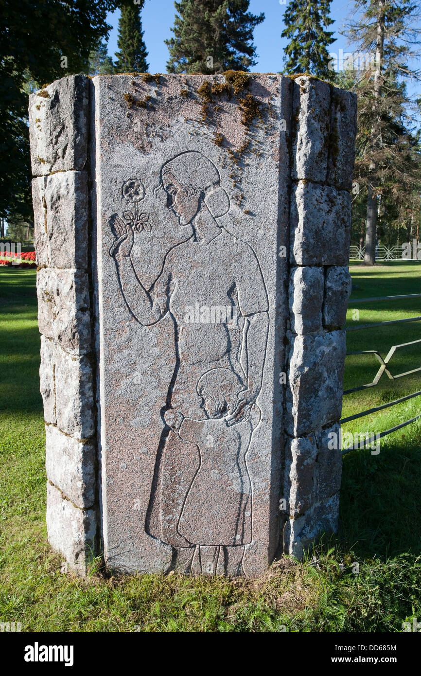 low relief within a sunk outline, Ruokolahti church yard gate, Finland - Stock Image