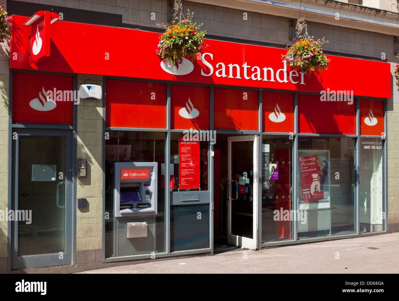 Exterior of the Santander bank branch on Queen street Cardiff South Glmorgan South Wales UK GB EU Europe - Stock Image