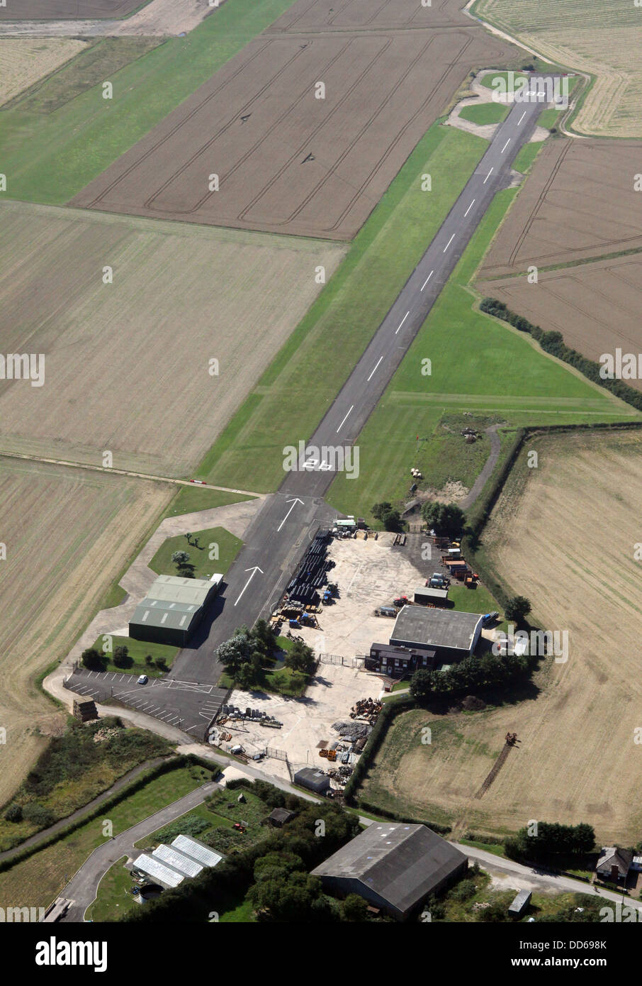 aerial view of Strubby airfield near Alford in Lincolnshire - Stock Image