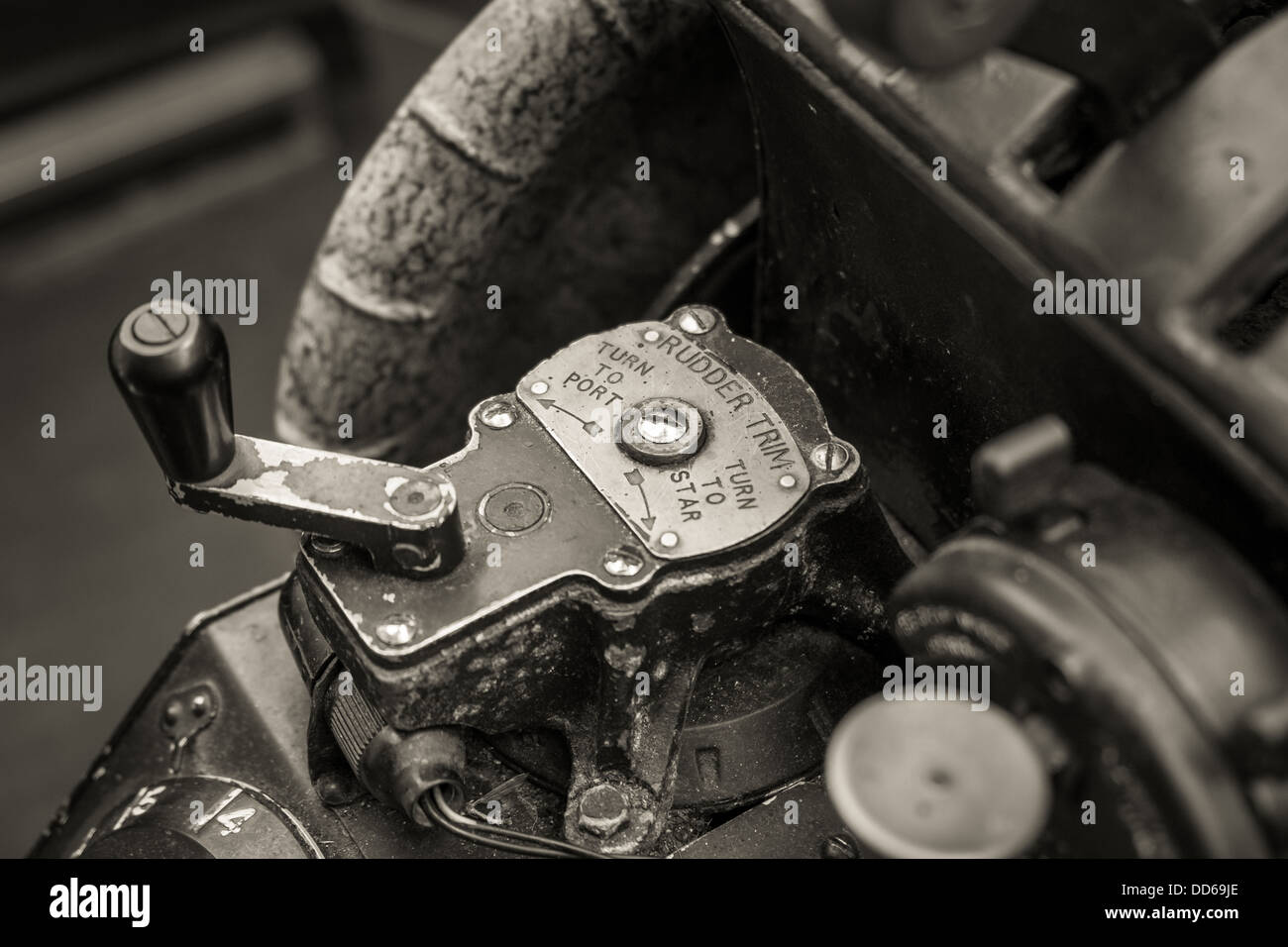Close up view of an old war planes rudder trim controls Stock Photo
