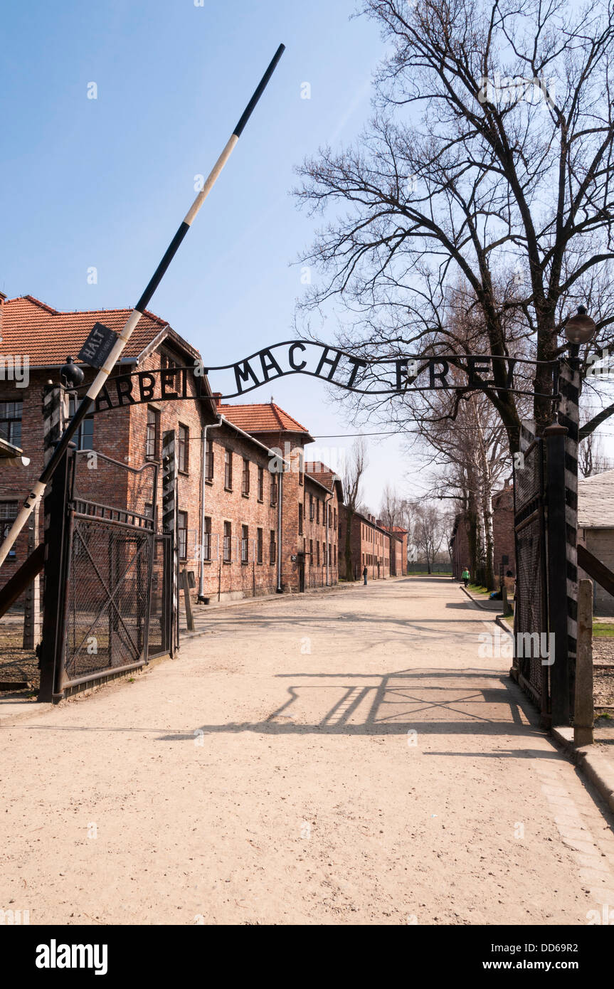 The entrance to Auschwitz concentration camp, Poland. - Stock Image