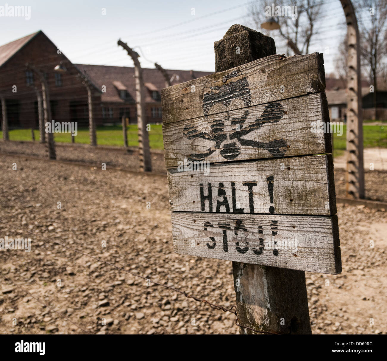 Sign in Auschwitz concentration camp, Poland. - Stock Image