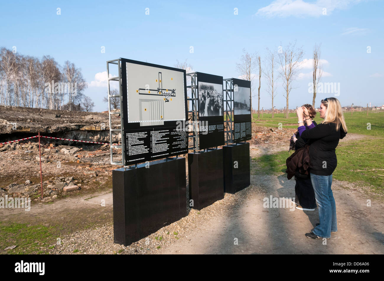Visitors at Auschwitz concentration camp. - Stock Image