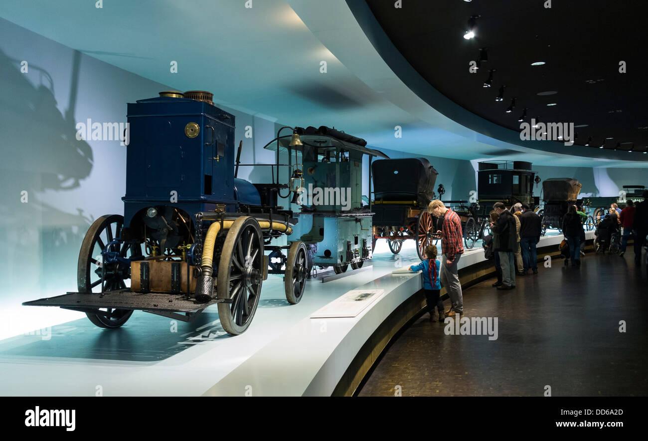Display inside the Mercedes Museum, Stuttgart, Germany - Stock Image