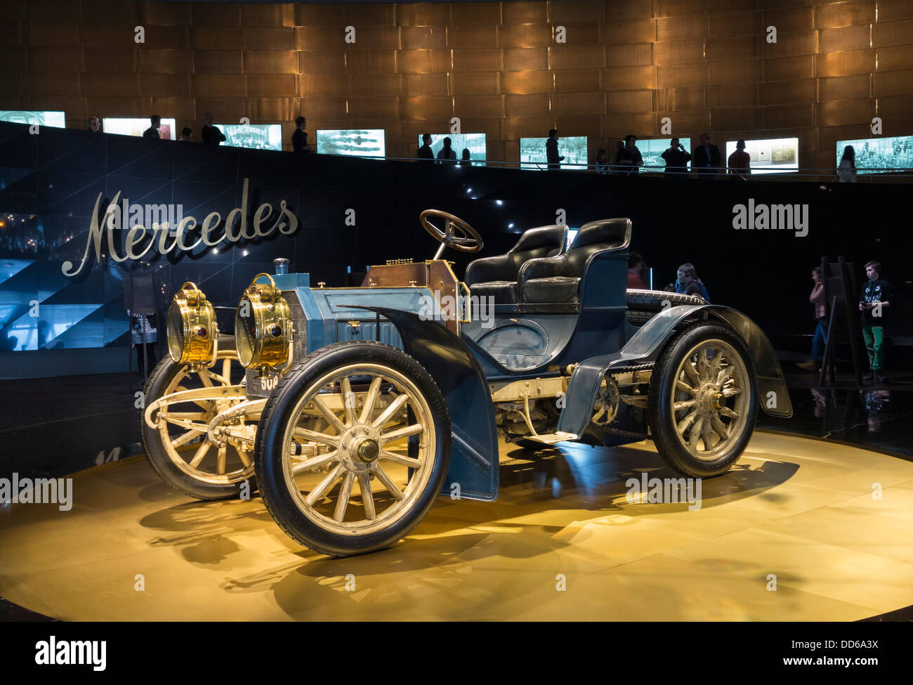 An early Mercedes car on display at the Mercedes-Benz Museum, Stuttgart, Germany - Stock Image