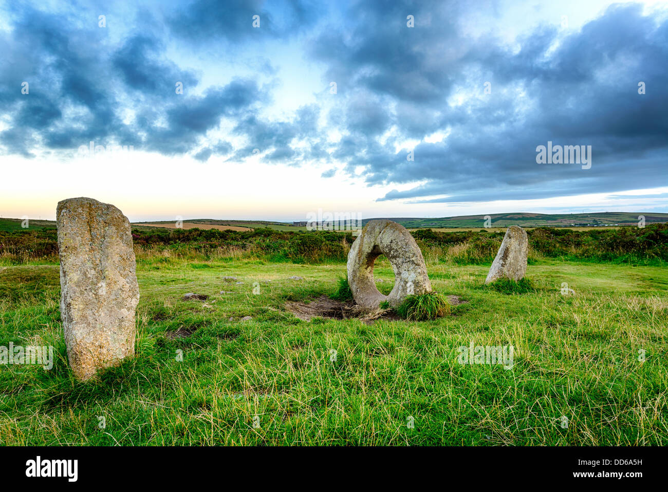The Men-an-Tol standing stones Near Penzance in Cornwal. Stock Photo