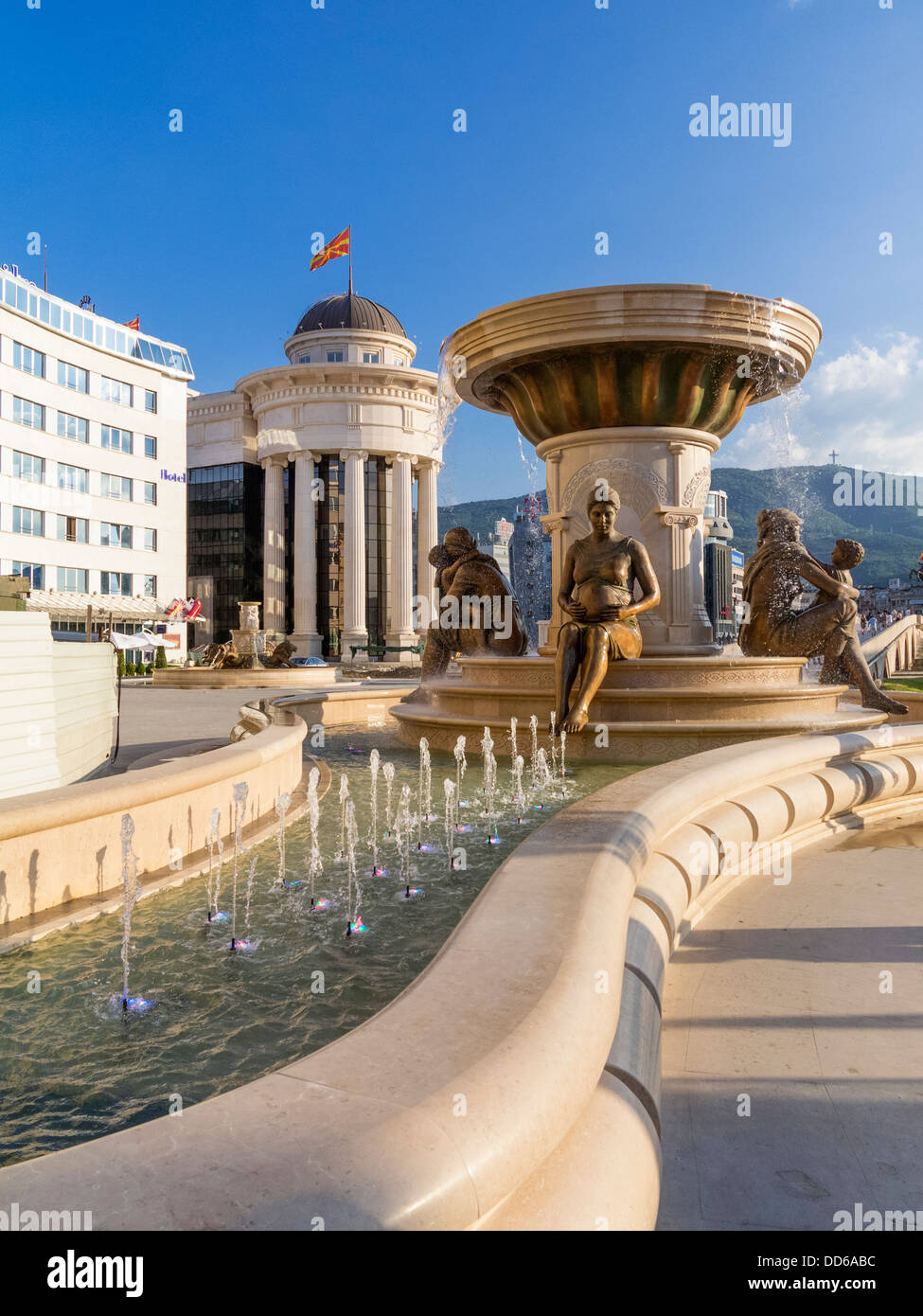 The Mothers of Macedonia Fountain, Skopje, Macedonia - Stock Image