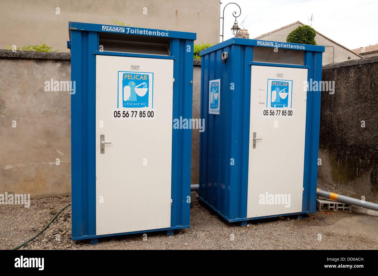 Portable toilets in Damazan village, Lot et Garonne, France Europe Stock Photo