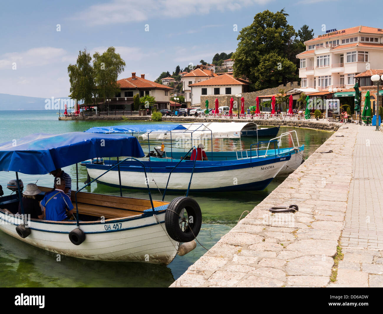 Harbour in Ohrid, on Lake Ohrid, Macedonia, Europe - Stock Image