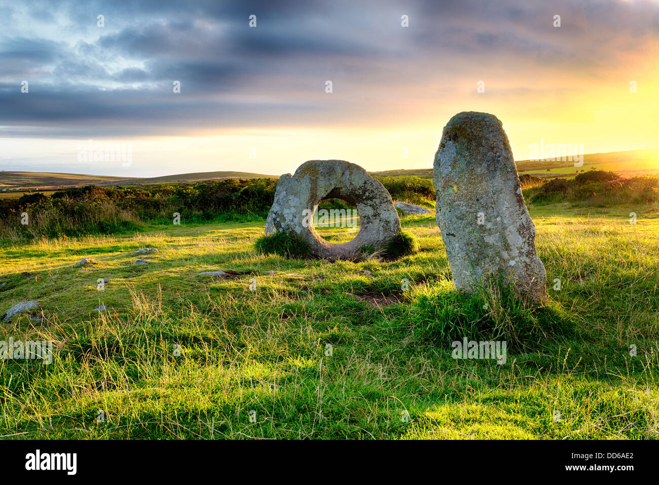 Men an Tol near Penzance in Cornwall - Stock Image