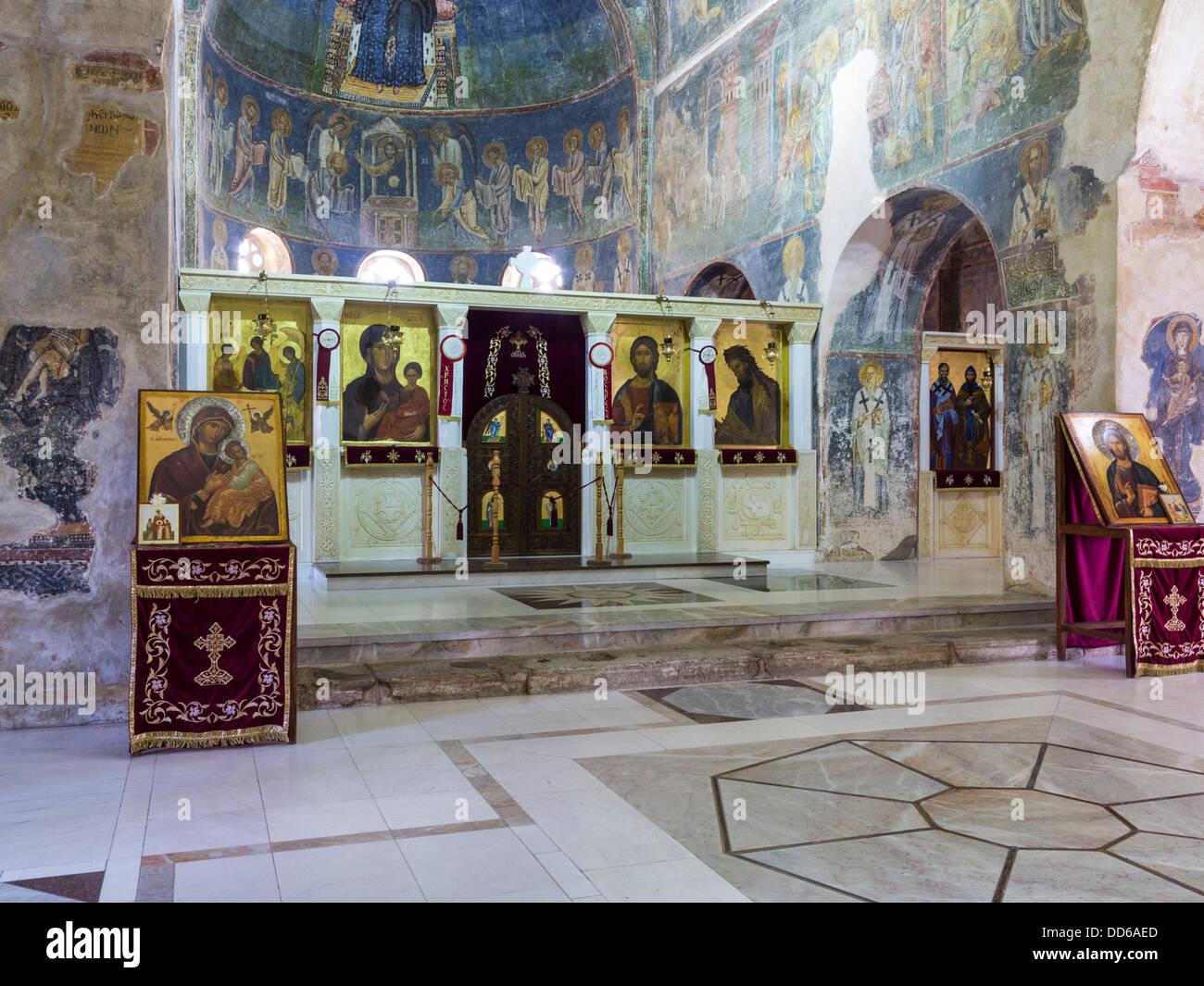 Inside Sveti Sofija Cathedral, Ohrid, Macedonia with religious icons and frescoes - Stock Image