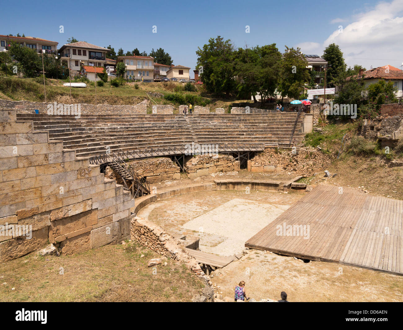 The Ancient Theatre in Ohrid, Macedonia, Europe - an amphitheatre from the Hellenistic period - Stock Image