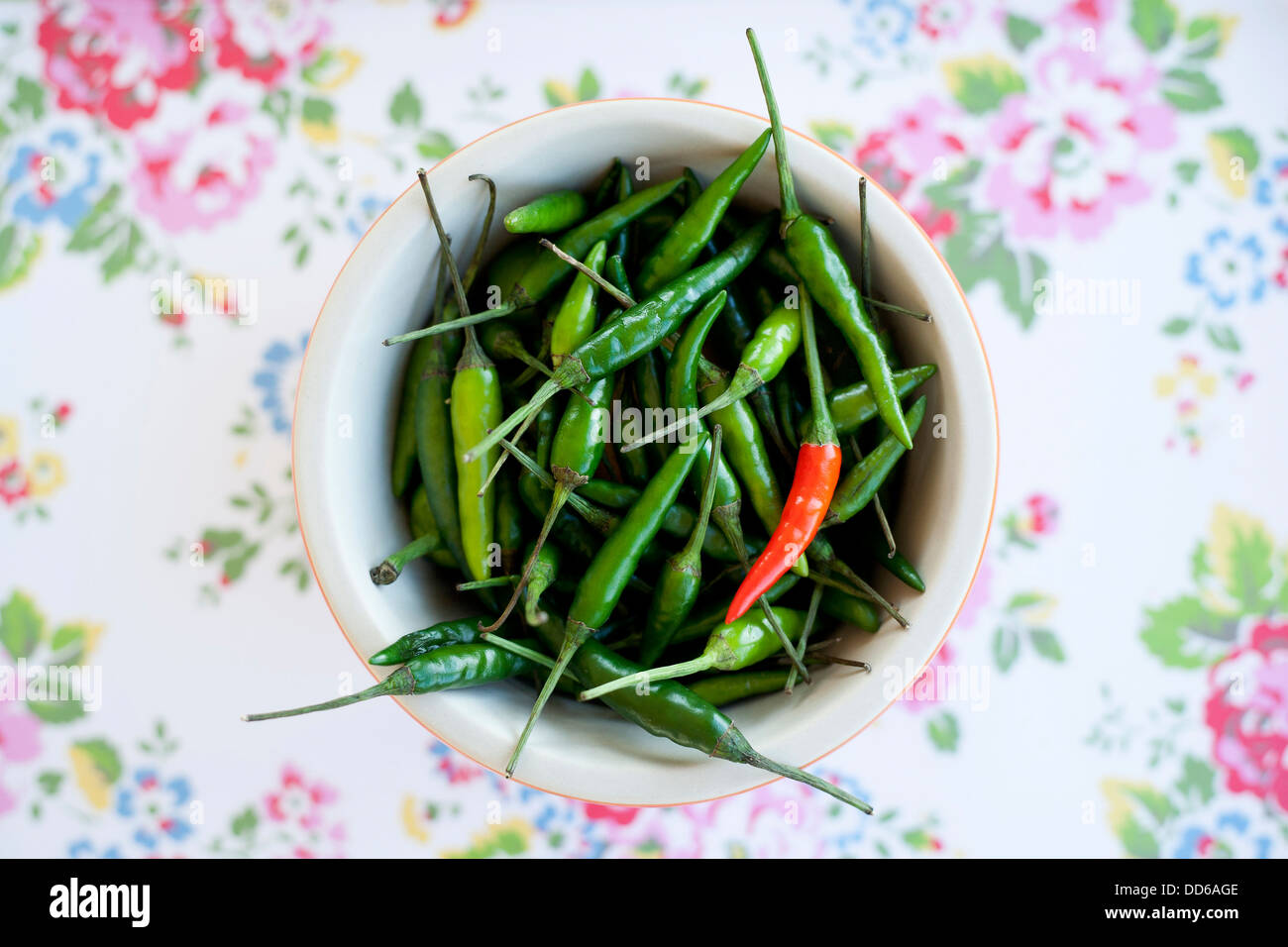 Bowl of Bird's eye chillies on flower print background. Top down view. - Stock Image