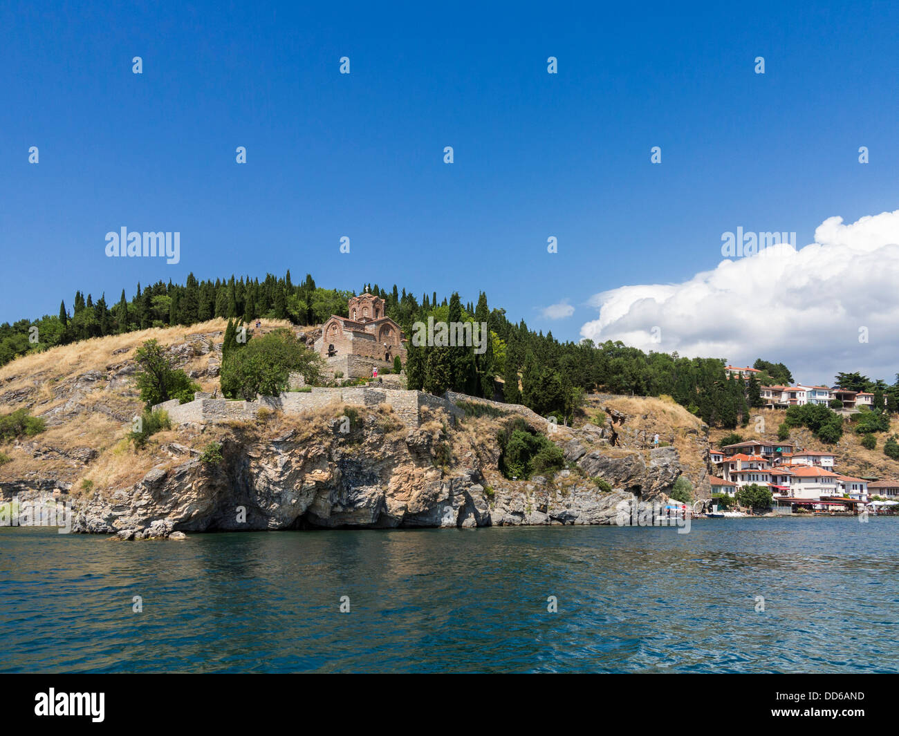 Church of St John / Sveti Jovan church overlooking the bay at Lake Ohrid, Macedonia, Europe - Stock Image