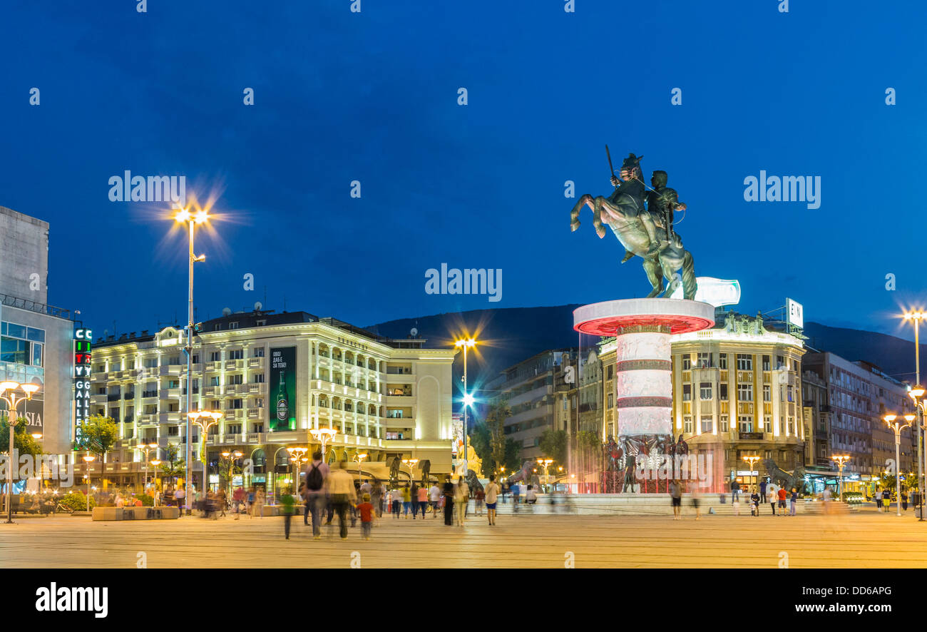 Skopje city centre - Macedonia Square, with Warrior on a Horse statue and fountain - Stock Image