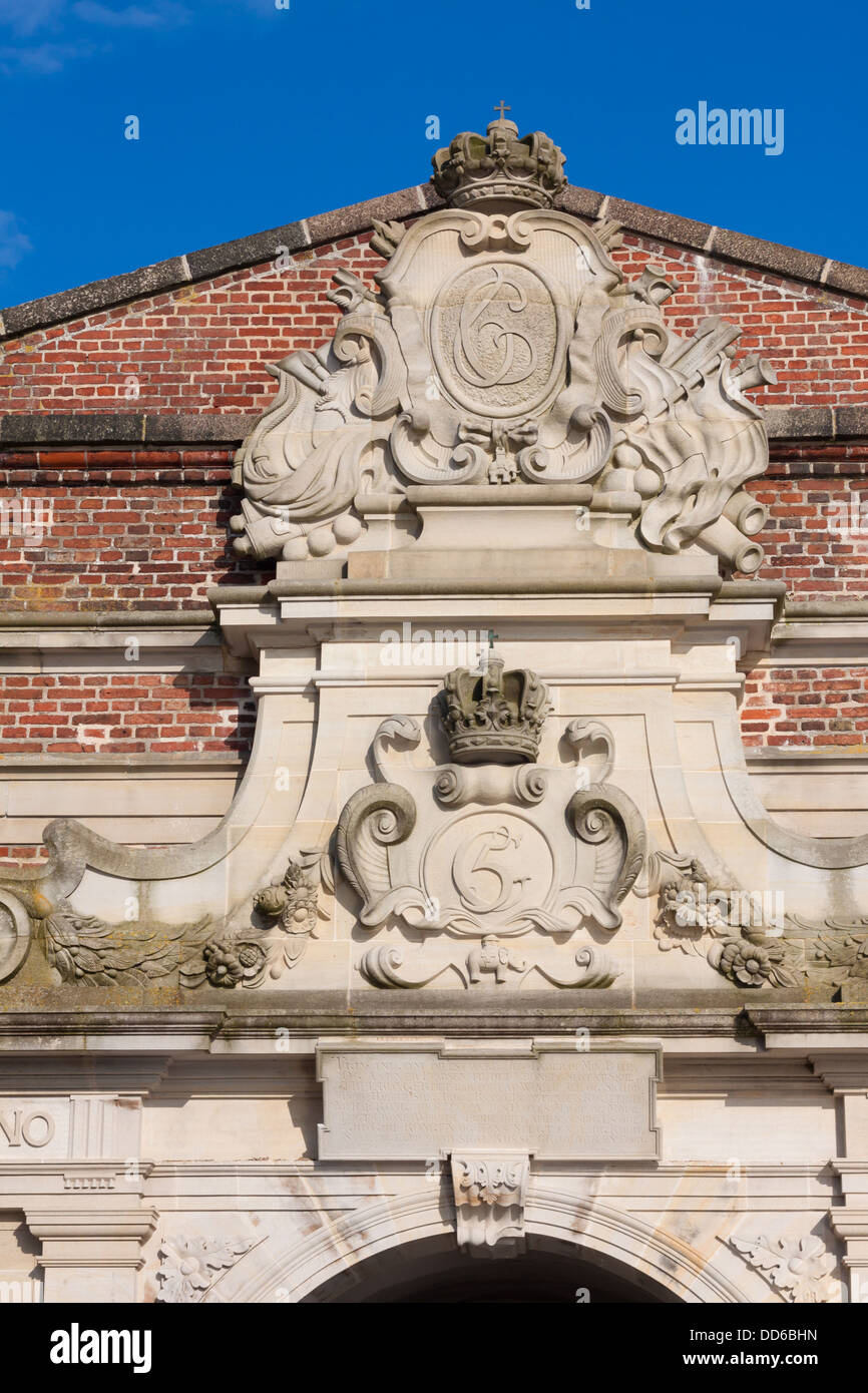 Decoration items entrance to the Kronborg Castle in Denmark - Stock Image