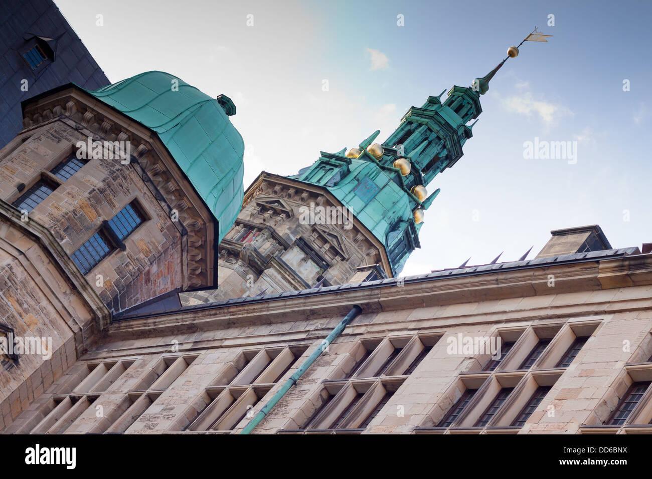 Spire Kronborg Castle in Denmark - Stock Image