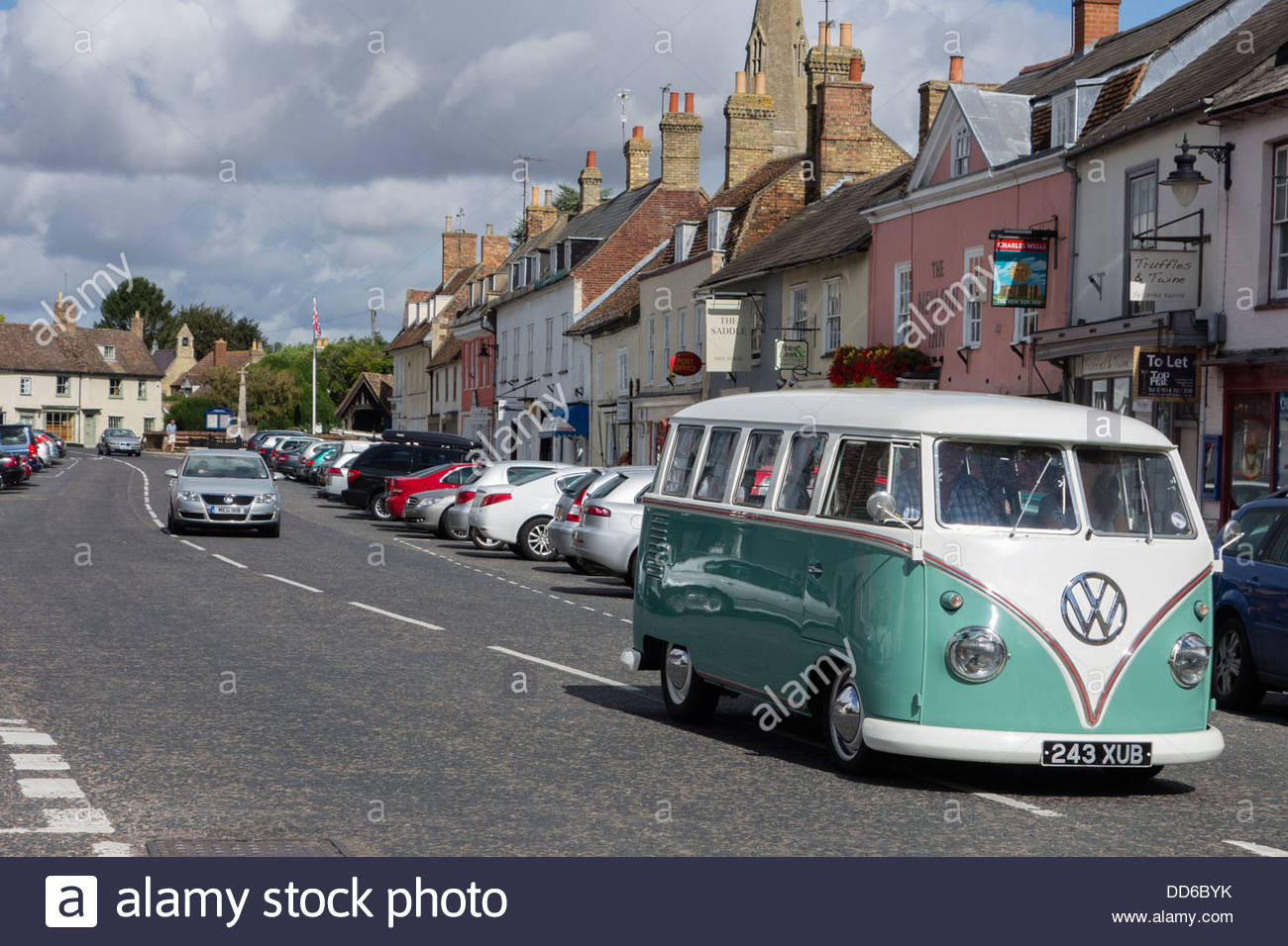 VW Camper van on Kimbolton High Street, Cambridgeshire, England - Stock Image