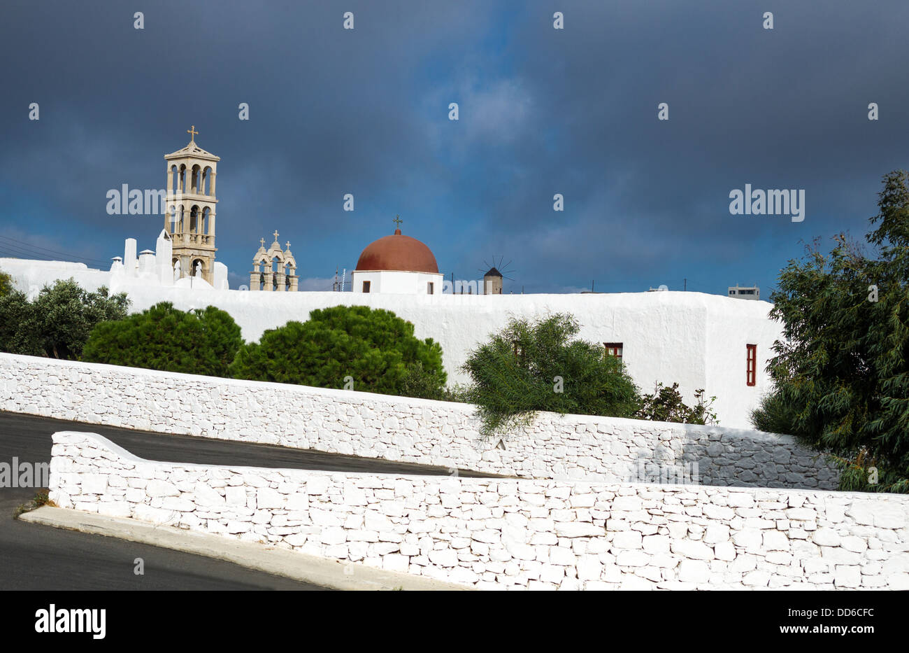 Greece, Mykonos, Ano Mera, the Panagia Tourliani monastery Stock Photo