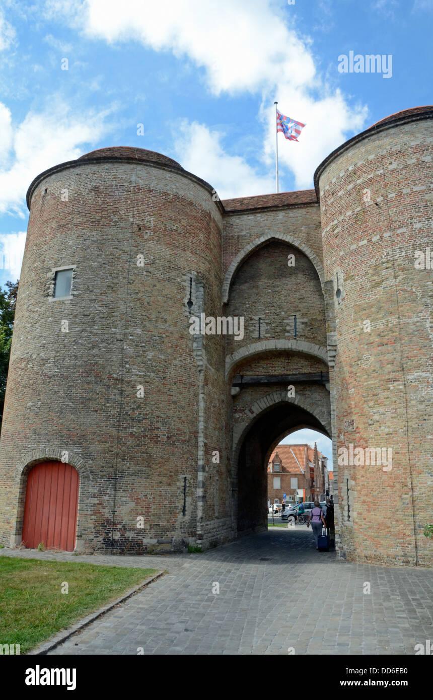 Gentpoort, (Gate of Ghent) Bruges, Belgium Stock Photo