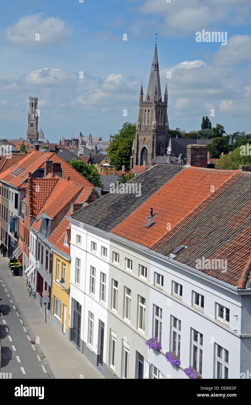 View of Bruges from Gentpoort tower Stock Photo