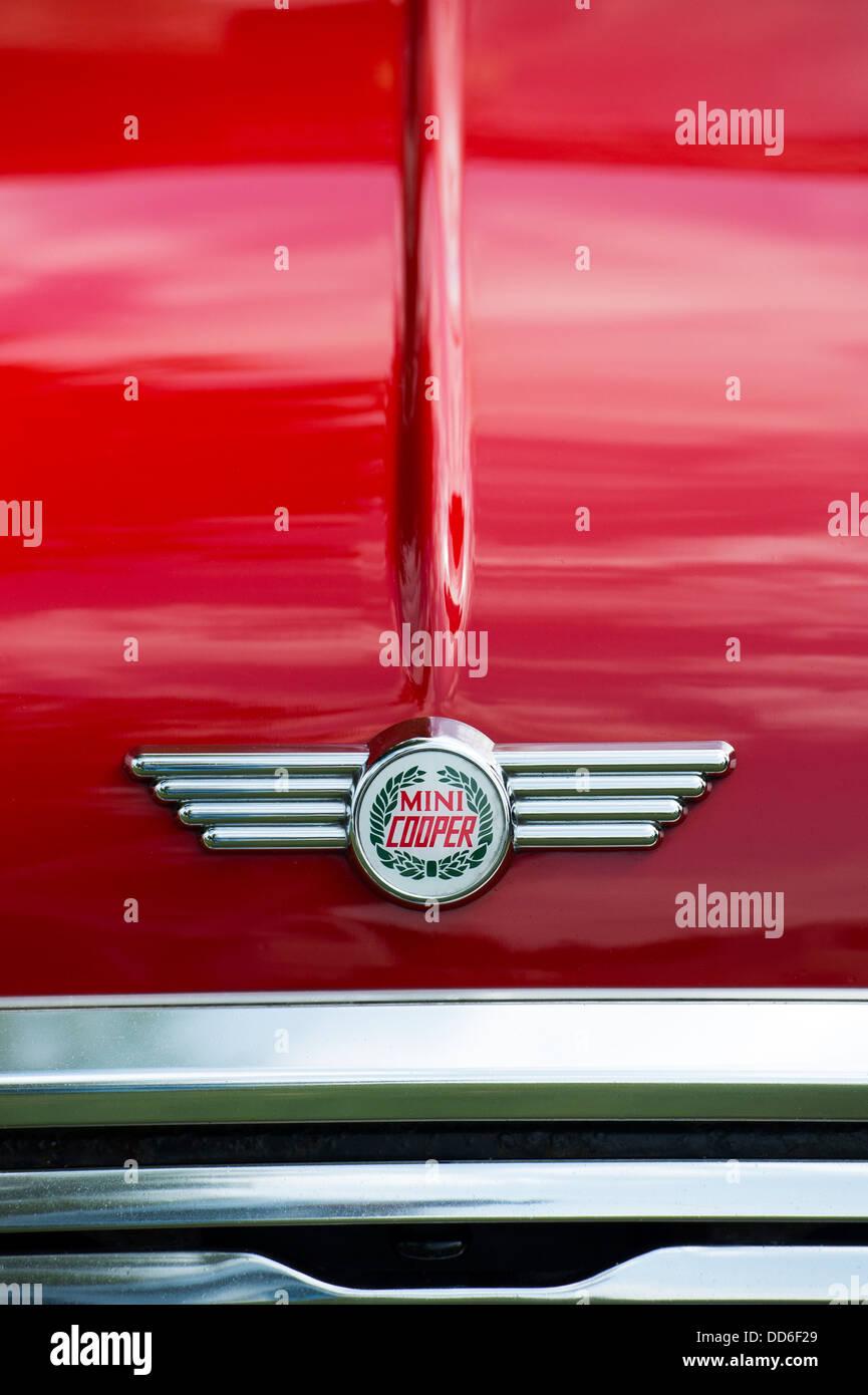 Austin Mini Cooper bonnet. Classic british car at a car show. UK - Stock Image