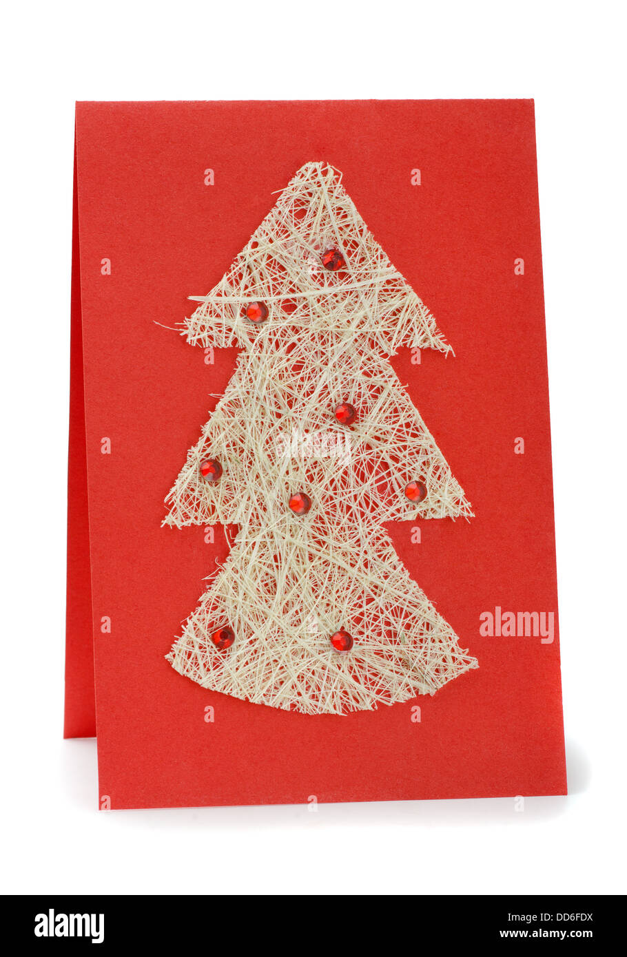 Handmade Christmas greeting card isolated on white - Stock Image