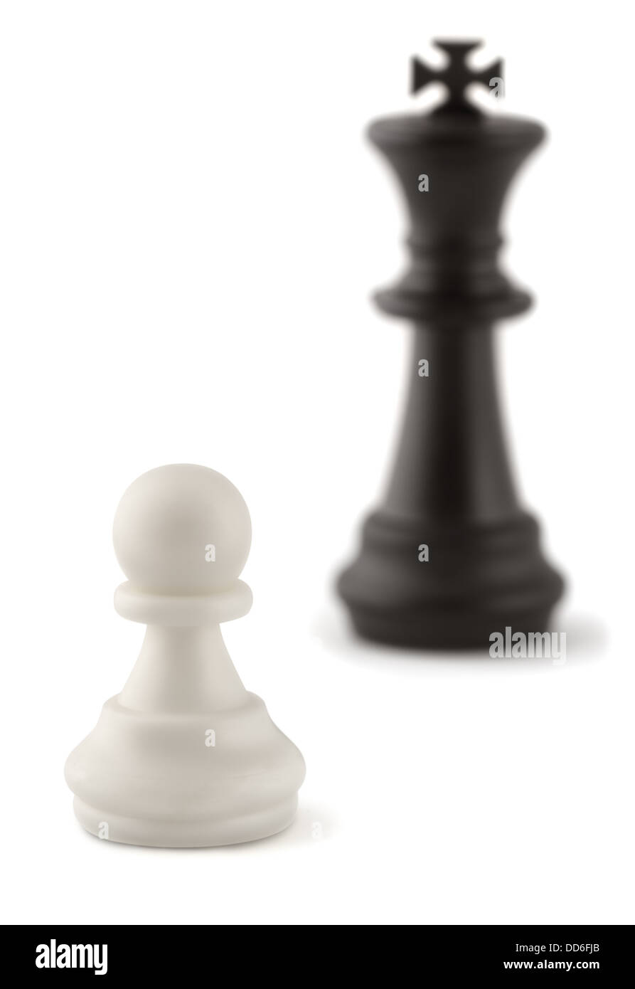 Chess combination - white pawn against black king - Stock Image