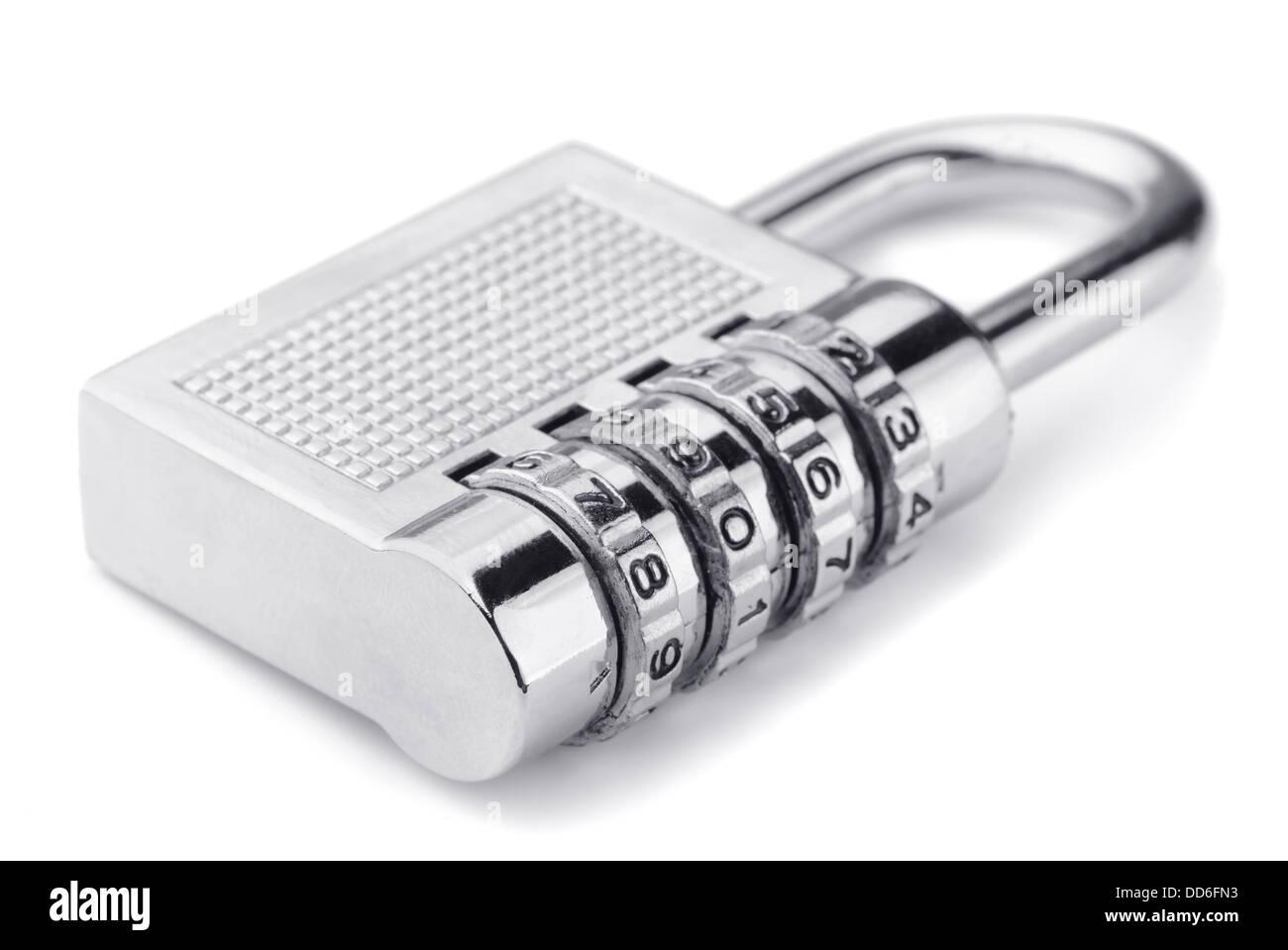 Combination padlock isolated on white - Stock Image