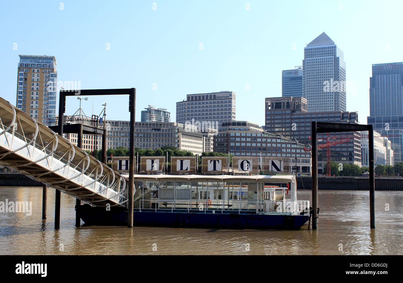 Hilton London Docklands Riverside landing stage on the River Thames - Stock Image