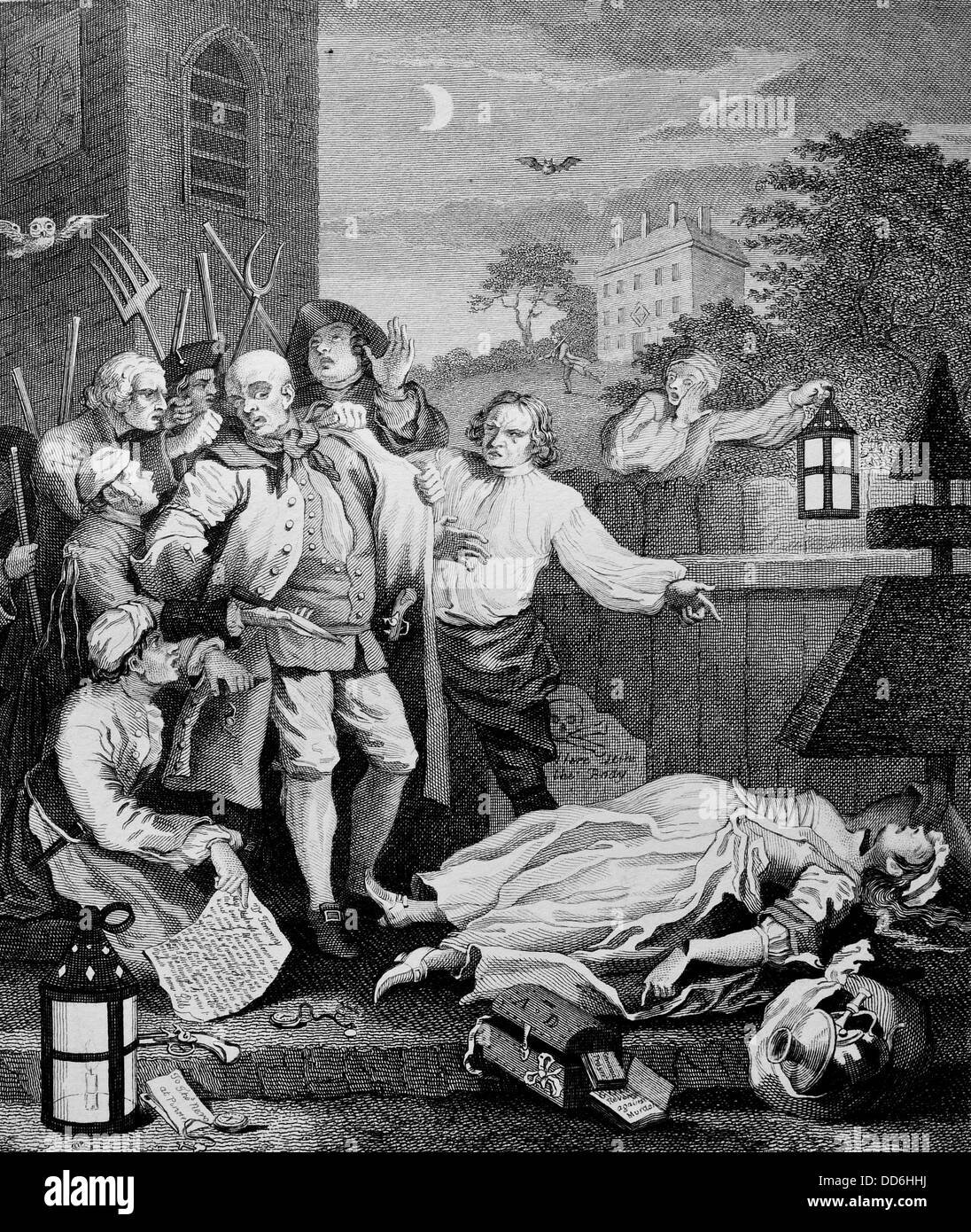 The four stages of cruelty . Cruelty in Perfection. Engraved by J.Romney from the original by William Hogarth. - Stock Image