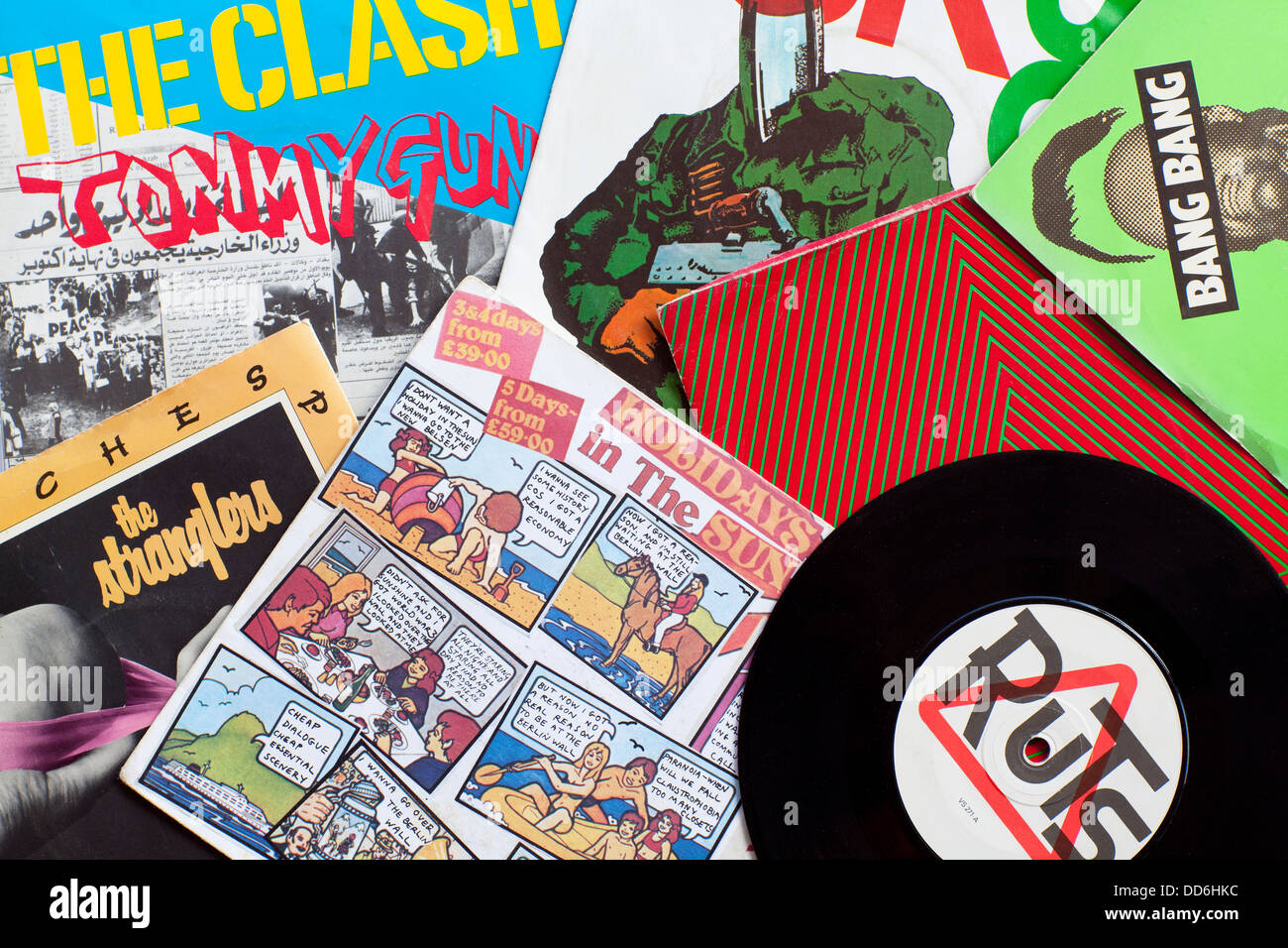 Collage of punk records - Stock Image